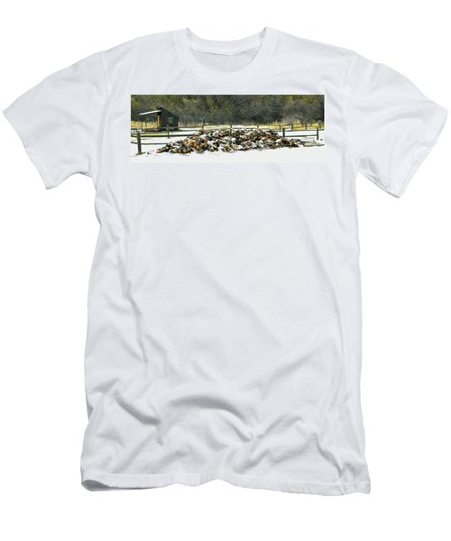 Men's T-Shirt (Slim Fit) featuring the photograph Firewood In The Snow At Fort Tejon by Floyd Snyder