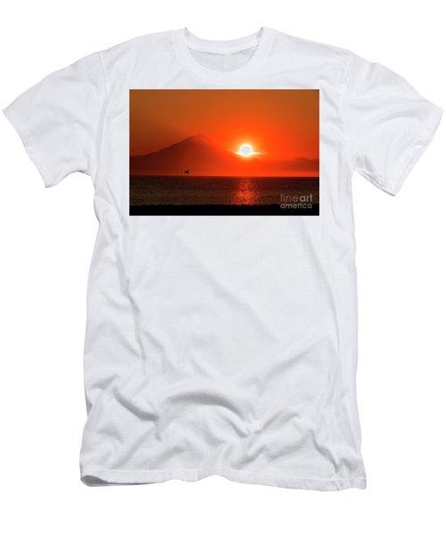 Firey Sunset On Mt Redoubt Volcano Alaska Men's T-Shirt (Athletic Fit)