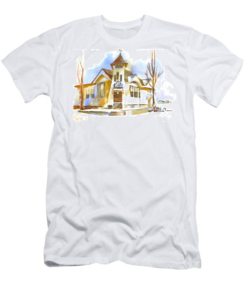 Men's T-Shirt (Slim Fit) featuring the painting First Baptist Church In Winter by Kip DeVore