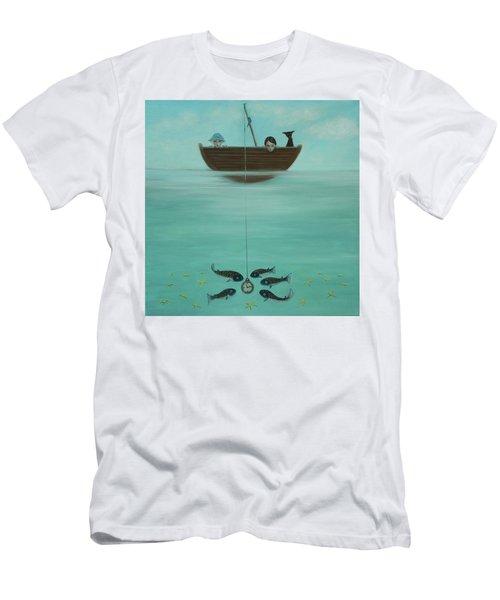 Fishing For Time Men's T-Shirt (Slim Fit) by Tone Aanderaa