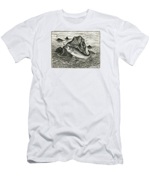 Men's T-Shirt (Slim Fit) featuring the photograph Fishing The Rocks by Charles Harden