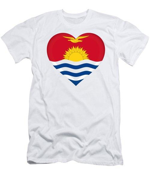 Flag Of Kiribati Heart Men's T-Shirt (Athletic Fit)