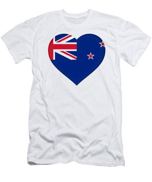Flag Of New Zealand Heart Men's T-Shirt (Slim Fit) by Roy Pedersen