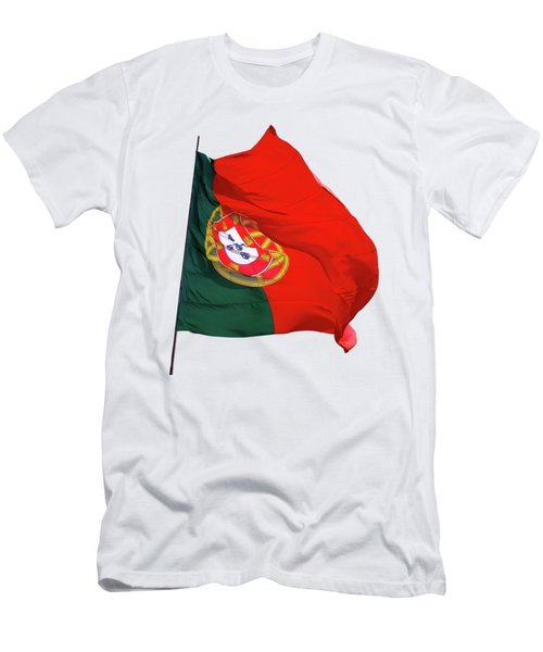 Men's T-Shirt (Slim Fit) featuring the photograph Flag Of Portugal by Menega Sabidussi