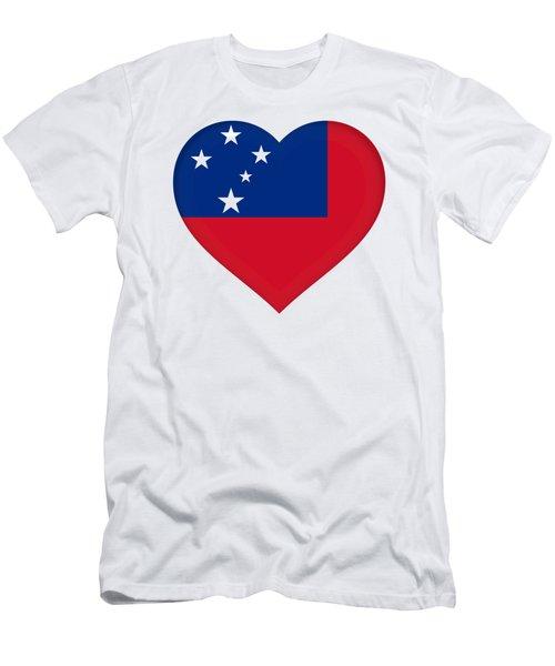 Flag Of Samoa Heart Men's T-Shirt (Athletic Fit)