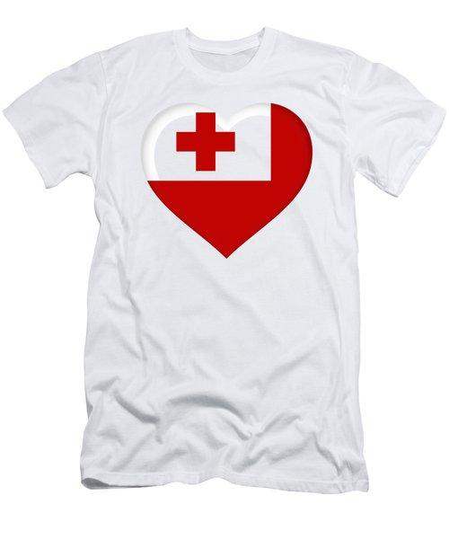 Flag Of Tonga Heart  Men's T-Shirt (Athletic Fit)