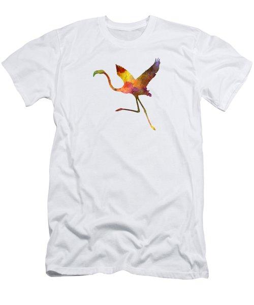 Flamingo 02 In Watercolor Men's T-Shirt (Slim Fit) by Pablo Romero