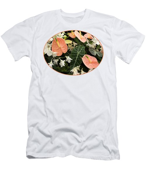 Flamingo Flowers And Orchids Men's T-Shirt (Slim Fit) by Gill Billington