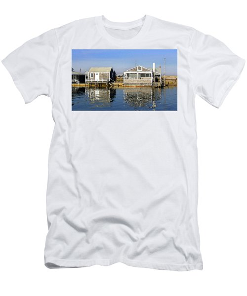 Men's T-Shirt (Athletic Fit) featuring the photograph Fletchers Camp And The Little House Sandy Neck by Charles Harden