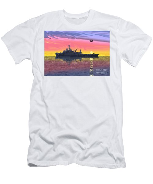 Flight Ops At Sunset Men's T-Shirt (Slim Fit) by Donald Maier