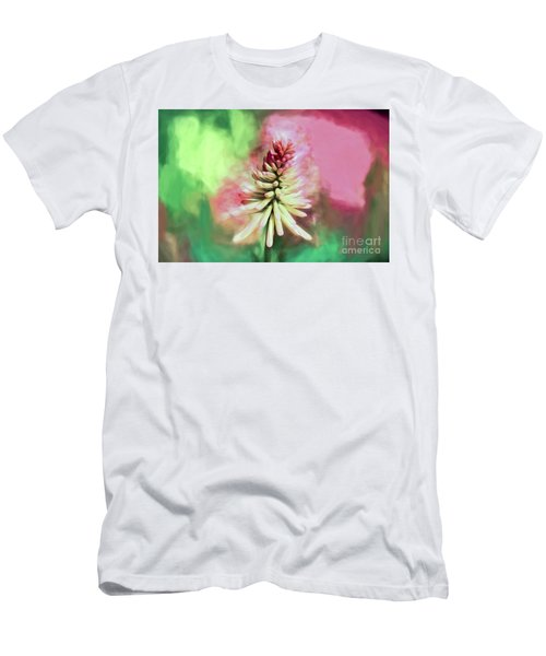 Men's T-Shirt (Athletic Fit) featuring the photograph Floral Art - Red Hot Poker by Kerri Farley