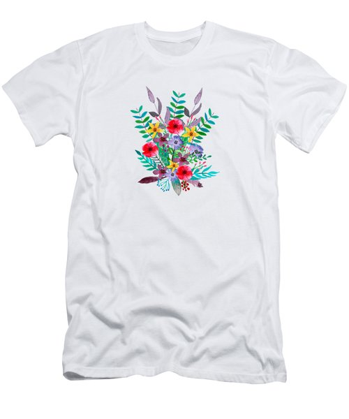 Floral Bouquet Men's T-Shirt (Slim Fit) by Amanda Lakey