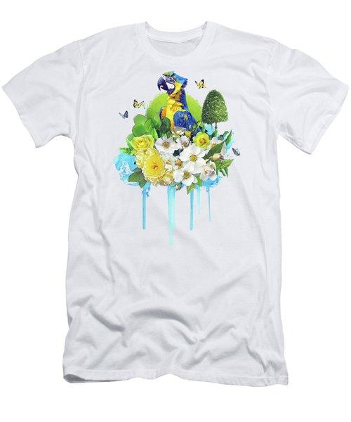 Floral Parrot Men's T-Shirt (Athletic Fit)