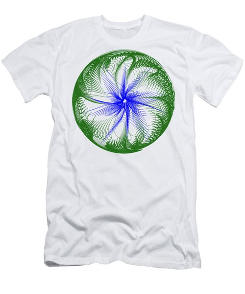 Floral Web - Green Blue By Kaye Menner Men's T-Shirt (Slim Fit) by Kaye Menner