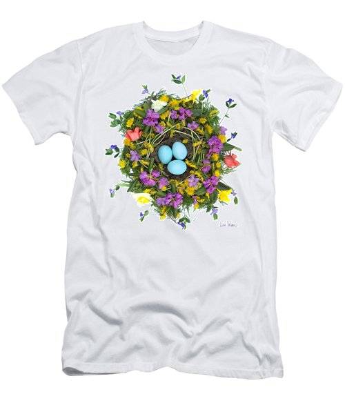 Men's T-Shirt (Slim Fit) featuring the digital art Flower Nest by Lise Winne