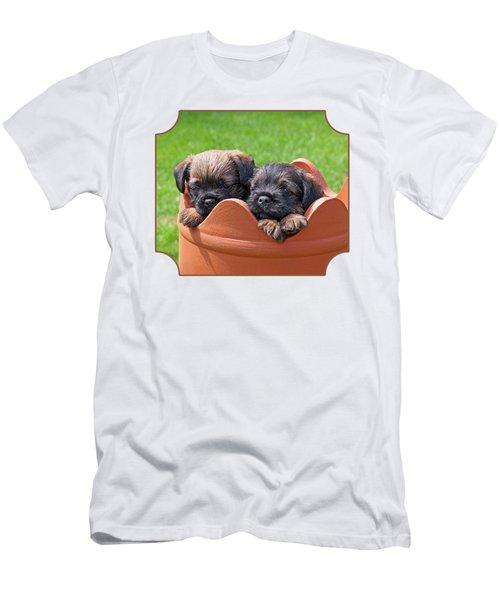 Flower Pot Puppies-border Terriers Men's T-Shirt (Athletic Fit)