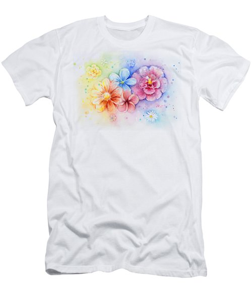 Flower Power Watercolor Men's T-Shirt (Slim Fit) by Olga Shvartsur