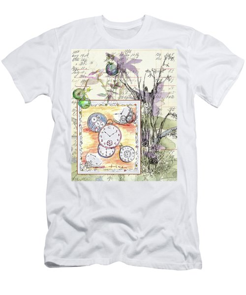 Men's T-Shirt (Slim Fit) featuring the drawing Flowers And Time by Cathie Richardson