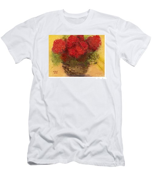 Flowers Red Men's T-Shirt (Slim Fit) by Marlene Book