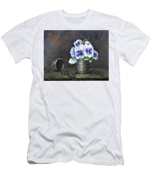 Men's T-Shirt (Slim Fit) featuring the painting Flowers,pansies Still Life by Luczay
