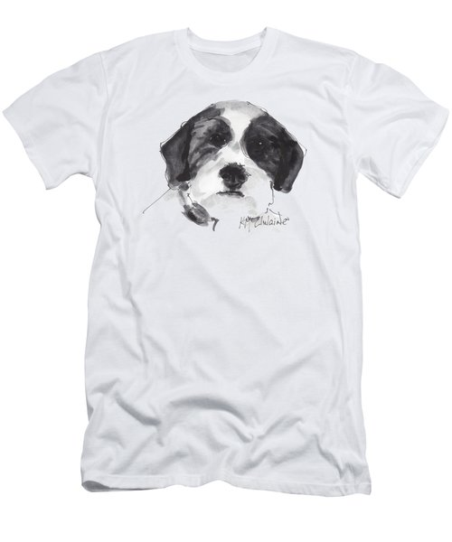 Fluffy Black And White Dog Watercolor Painting Men's T-Shirt (Slim Fit) by Kathleen McElwaine
