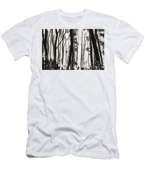 Foggy Forest Tree Paint Men's T-Shirt (Athletic Fit)