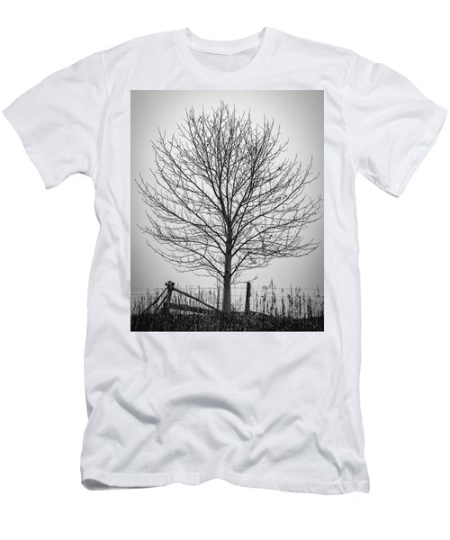 Foggy Lone Tree Hill Fine Art Men's T-Shirt (Athletic Fit)