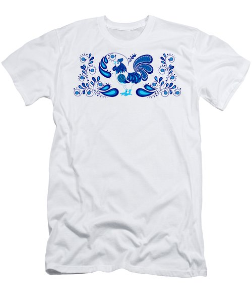 Folk Art Rooster In Blue Men's T-Shirt (Athletic Fit)