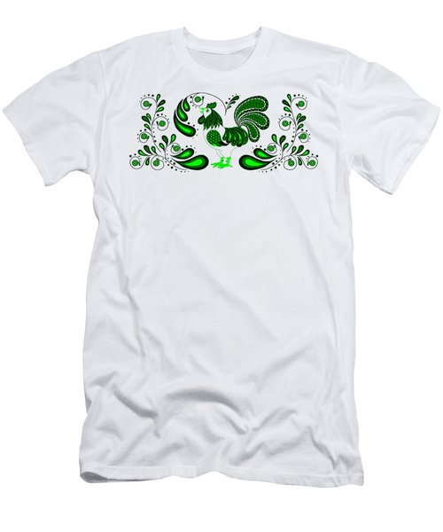 Folk Art Rooster In Green Men's T-Shirt (Slim Fit) by Ruanna Sion Shadd a'Dann'l Yoder