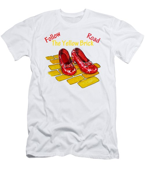 Follow The Yellow Brick Road Ruby Slippers Wizard Of Oz Men's T-Shirt (Athletic Fit)