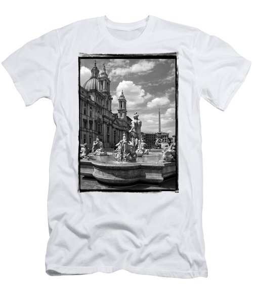 Fontana Del Moro.rome.italy Men's T-Shirt (Slim Fit) by Jennie Breeze