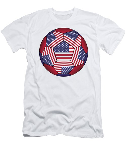 Football Ball With United States Flag Men's T-Shirt (Athletic Fit)