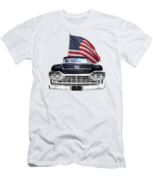 Ford F100 With U.s.flag On Black Men's T-Shirt (Athletic Fit)