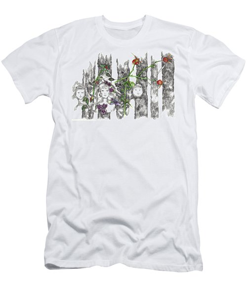 Men's T-Shirt (Slim Fit) featuring the drawing Forest Faces by Cathie Richardson