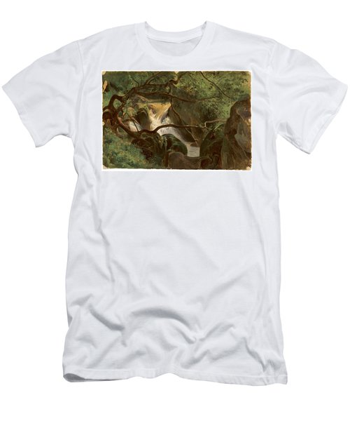 Forest Interior With A Waterfall Papigno Men's T-Shirt (Athletic Fit)