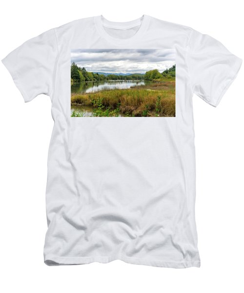 Men's T-Shirt (Athletic Fit) featuring the photograph fort Clatsop on the Columbia River by Michael Hope