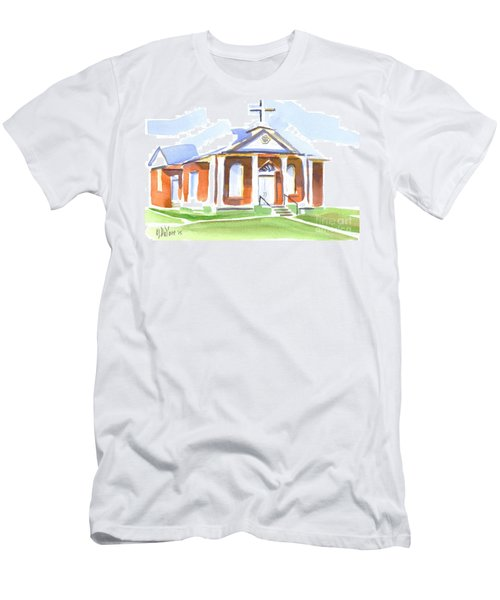 Men's T-Shirt (Slim Fit) featuring the painting Fort Hill Methodist Church by Kip DeVore