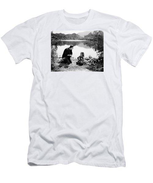 Frankenstein By The Lake With Little Girl Boris Karoff Men's T-Shirt (Slim Fit) by R Muirhead Art