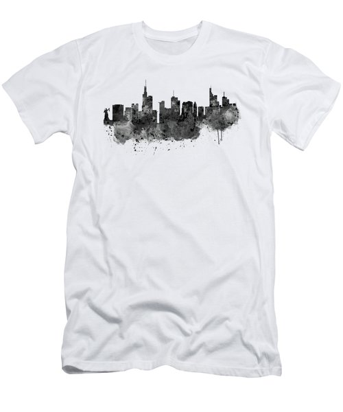 Frankfurt Black And White Skyline Men's T-Shirt (Slim Fit) by Marian Voicu