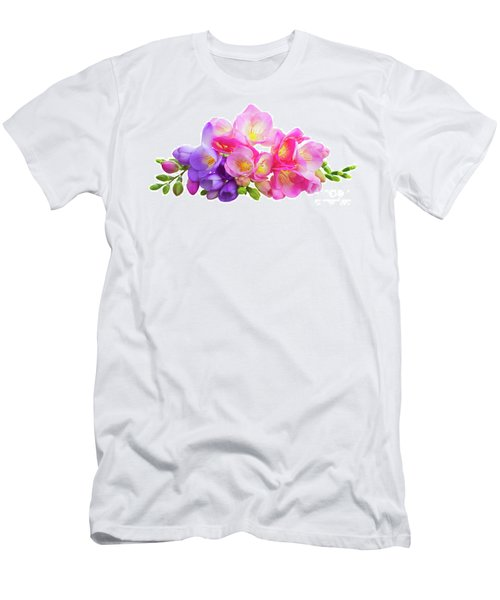 Fresh Pink And Violet Freesia Flowers Men's T-Shirt (Athletic Fit)
