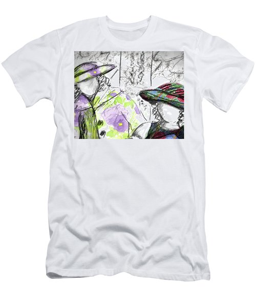 Men's T-Shirt (Slim Fit) featuring the painting Friends And Flowers by Cathie Richardson