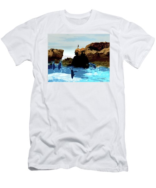 Friends With Dolphins In Colour Men's T-Shirt (Athletic Fit)