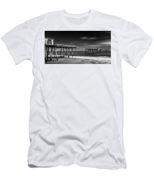 Men's T-Shirt (Athletic Fit) featuring the photograph Frisco Fishing Pier In Black And White Panorama by Ranjay Mitra