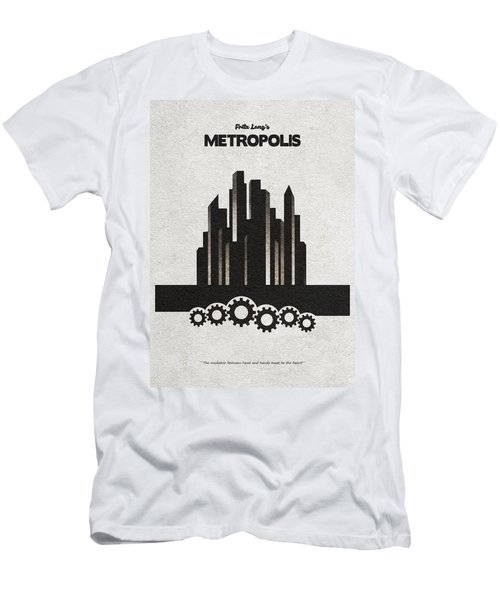 Men's T-Shirt (Athletic Fit) featuring the painting Fritz Lang's Metropolis Alternative Minimalist Movie Poster by Inspirowl Design