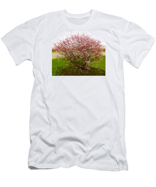 Men's T-Shirt (Slim Fit) featuring the photograph Frosty Fire Bush by Spyder Webb
