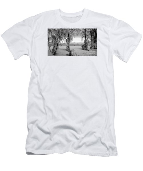 Men's T-Shirt (Slim Fit) featuring the photograph Frozen Landscape Of The Menominee North Pier Lighthouse by Mark J Seefeldt