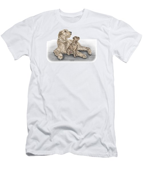 Men's T-Shirt (Slim Fit) featuring the drawing Full Of Promise - Irish Wolfhound Dog Print Color Tinted by Kelli Swan