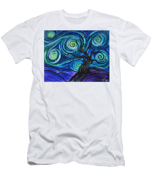 Funky Tree, Starry Night Men's T-Shirt (Athletic Fit)