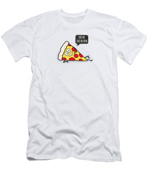 Funny And Cute Delicious Pizza Slice Wants Only You Men's T-Shirt (Athletic Fit)