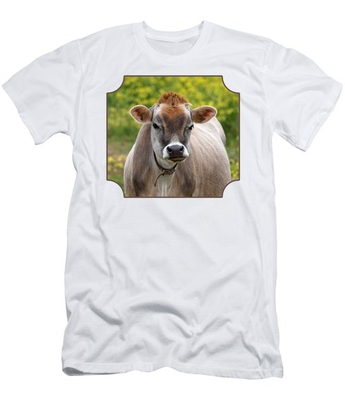 Funny Jersey Cow -square Men's T-Shirt (Slim Fit) by Gill Billington